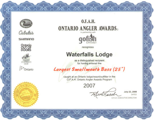 "O.F.A.H. Ontario Angler Awards - Largest Smallmouth Bass (25"")"