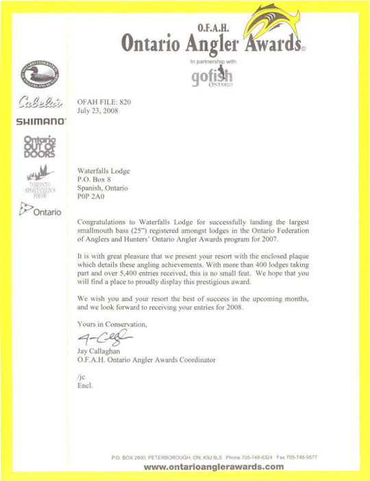 letter of congratulations for Largest Smallmouth Bass award