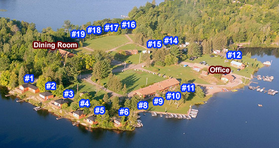 clickable map of Waterfalls Lodge cottages and cabins