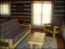new furniture in remodeled log cabin